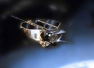 Rendering of satellite in space