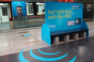 a bench advertising free wifi